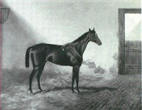 'ladas', a dark bay racehorse with a groom in a  landscape [&] 'donovan', a chestnut racehorse in a loose box by alfred charles havell